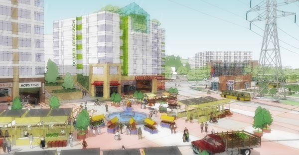 Employment-based redevelopment near the Rainier Beach light-rail station would create an ideal location for a farmer's market. (Image Credit:  VIA Architecture)